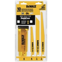 DEWALT DW4898 Bi Metal Reciprocating Saw Blade Set with Case, 10 Piece