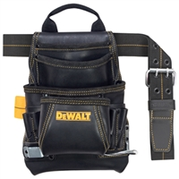 DEWALT 10 - Pocket Carpenter's Top Grain Grain Leather Nail and Tool Bag  DG54331