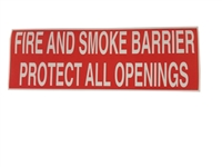 FIRE AND SMOKE BARRIER PROTECT ALL OPENINGS STICKER  50 PACK  RED