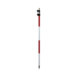 red and white aluminum prism pole with dual graduation marks