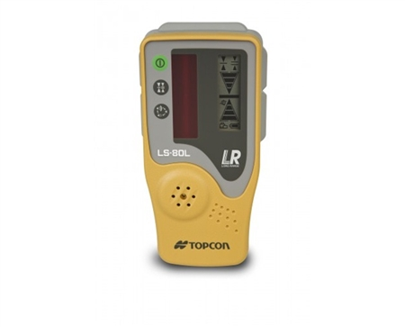 yellow and gray Topcon laser reciever with LCD display and protective case