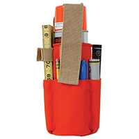 Orange cloth spray can holster with small pockets for markers and rulers