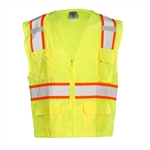 Kishigo Yellow Class 2 Safety Vests | Solid Front w/ Mesh Back