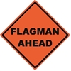 """Flagman Ahead"" Roll-Up Sign with Corner Pockets"