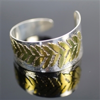 Branch Cuff Bracelet photo. Gorgeous mix of silver and bronze, the plant-stalk design is all in bronze attached to an all silver cuff bracelet.