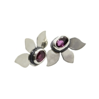 Silver earrings with pink tourmaline