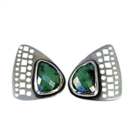 stud handmade in sterling silver and emerald earrings.