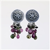 Daisy Earrings photo. Handmade sterling silver earrings and tourmalines.