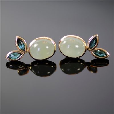 Tuscany Earrings photo. The 18k yellow gold in these earrings is the perfect combination with the green, european like milky aquamarine and green tourmaline. Same collection as Tuscany bracelet and ring, the design is like leaves. Gorgeous like no other!