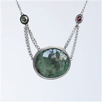 Liz Green Necklace Photo. Handmade necklace in sterling silver with emerald and tourmaline.