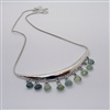 Silver necklace with green tourmaline