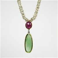Handmade necklace made of sterling silver, fine silver and 18k gold with pink tourmaline and calcedony.