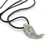 Pendent in a shape of a cashmere made in silver with leather cord.