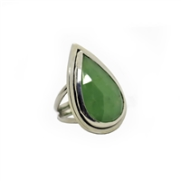 Lemongrass Ring photo. Most gorgeous bright green chalcedony stone in the shape of a tear drop held by a polished silver structure.