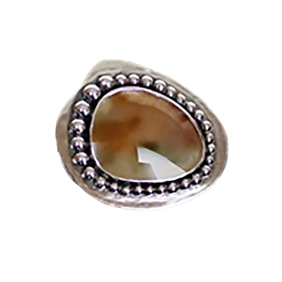 Geyser Lake Ring photo. Gorgeous composition. Rounded green and pink quartz is the center in the shape of a lake, with polished silver structuring it with round dots highlighted on the borders.