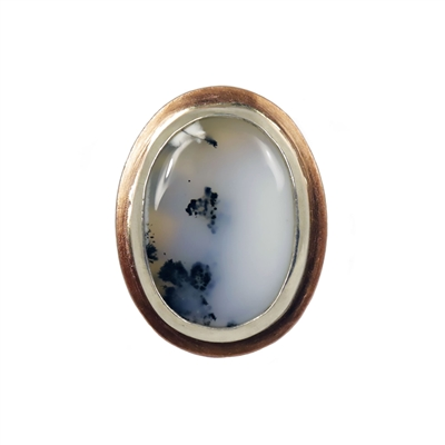 Navin Ring photo. Sterling silver, copper and dendrite agate.