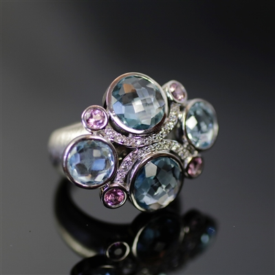 Imperial Icicle Ring photo. This ring is made with the best-quality 18k white gold giving the name of the ring its purpose, the light blue topaz and light pink tourmaline align with the diamonds as accents bring in its imperialism. Gorgeous!!