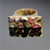 Zimbabwe Chic Ring. Same collection as Zimbabwe Chic Bracelet. This ring is the exact same design and stones and outline as the bracelet with the pink, blue, and green tourmalines of different shapes. 18k yellow gold, always of the best quality of course.