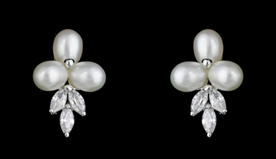 Fresh Water Pearl and CZ Earrings