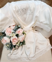 Satin Bride Robe with Lace