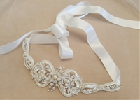 Pearl and Crystal Ribbon Tie Headband