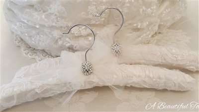 Ivory Tulle Edged Hanger with Crystal