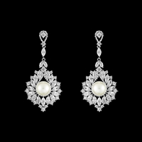 CZ and Pearl Chandelier Earrings