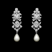 Fresh Water Pearl and Crystal Earrings