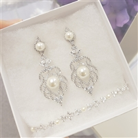 CZ Chandelier Earrings and Bracelet