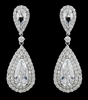 Large Tear Drop CZ Earrings