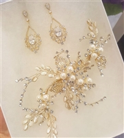 Gold Hair Clip and Chandelier Earrings