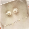 Pearl and CZ Cluster Earrings and Bracelet