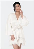 Luxury Satin Robe with Ostrich Feathers