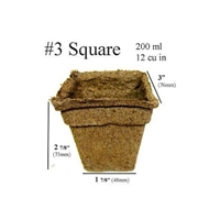 COW POTS 100% BIODEGRADABLE POT 3 INCH SQUARE, EACH