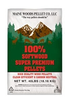 MAINE WOODS PREMIUM WOOD PELLETS 100% SOFTWOOD, 9,000 BTU, 40LB BAGS