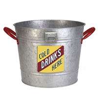 PANACEA 83290 VINTAGE ICE BUCKET/PLANTER W/ BOTTLE OPENER, GALVANIZED