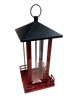 RED METAL BIRD FEEDER