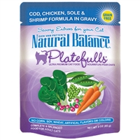 NATURAL BALANCE PLATEFULLS COD, CHICKEN, SOLE, & SHRIMP CAT FOOD POUCH 3OZ