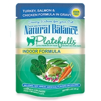NATURAL BALANCE PLATEFULLS INDOOR TURKEY, SALMON, &  CHICKEN CAT FOOD POUCH 3OZ