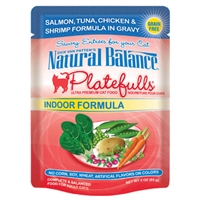 NATURAL BALANCE PLATEFULLS INDOOR SALMON, TUNA, CHICKEN, & SHRIMP CAT FOOD POUCH 3OZ