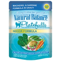 NATURAL BALANCE PLATEFULLS INDOOR MACKEREL & SARDINE CAT FOOD POUCH 3OZ