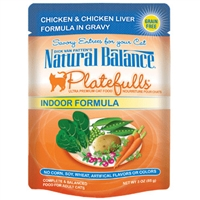NATURAL BALANCE PLATEFULLS INDOOR CHICKEN & CHICKEN LIVER CAT FOOD POUCH 3OZ