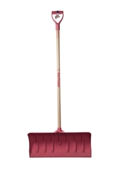 "Mt Waldo 24"" Snow Shovel/Pusher D-grip, Fiberglass Shaft, Pink"