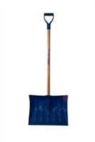 "Mt Waldo 18"" Snow Shovel/Pusher D-grip,Ash Shaft, Blue"