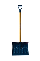 "Mt Waldo 18"" Snow Shovel/Pusher D-grip, Fiberglass Shaft, Blue"