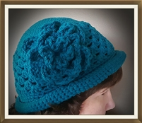Flapper Flower Hat with Attached Flower - Teal