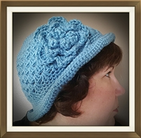 Flapper Flower Hat with Attached Flower - Light Blue
