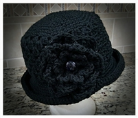 Flapper Flower Hat with Button-On Big Flower - Black
