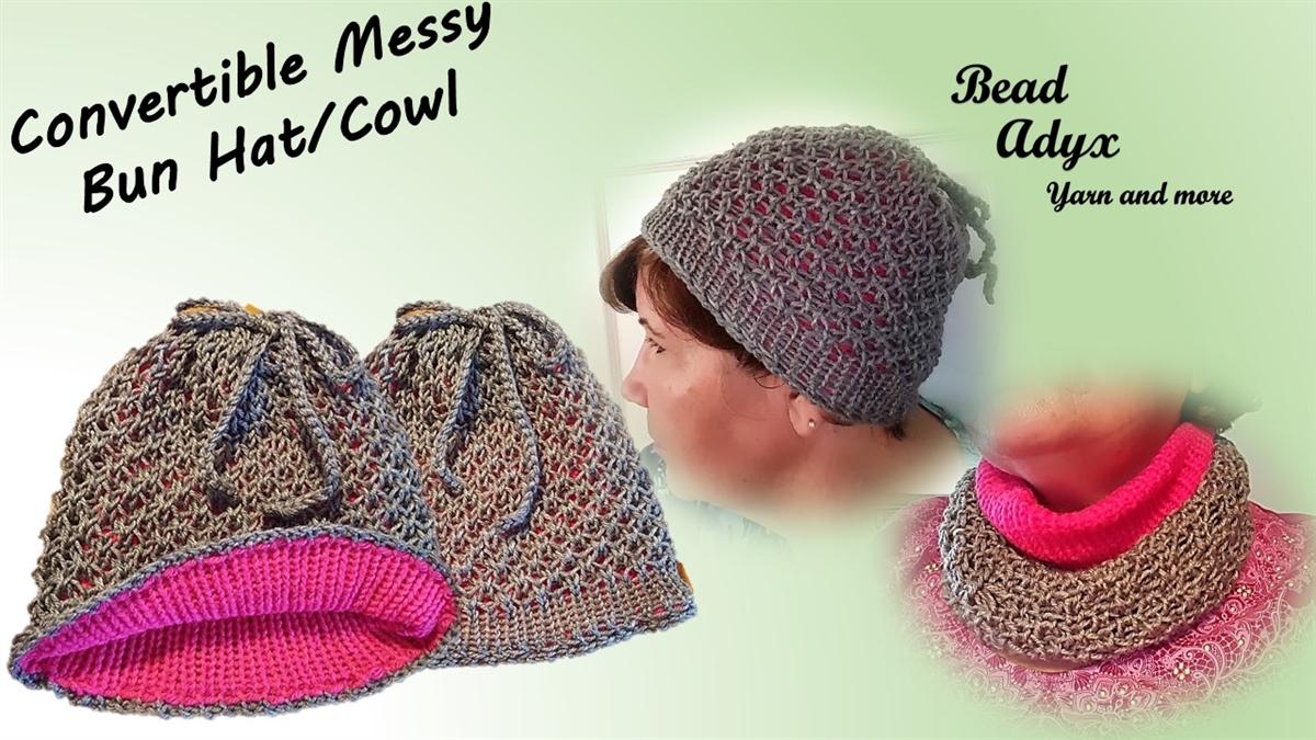 25dd0fcd4cc0c Convertible Messy Bun Hat Cowl - Grey Pink