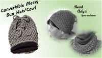 Convertible Messy Bun Hat/Cowl - Grey/Black